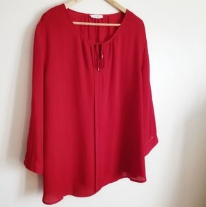 Mandee red flowy long sleeve blouse